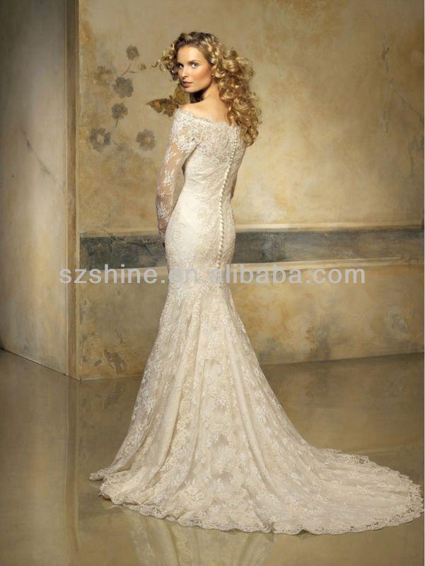 Ywd10332 Julie Vino Off Shoulder Long Sleeve Lace Wedding