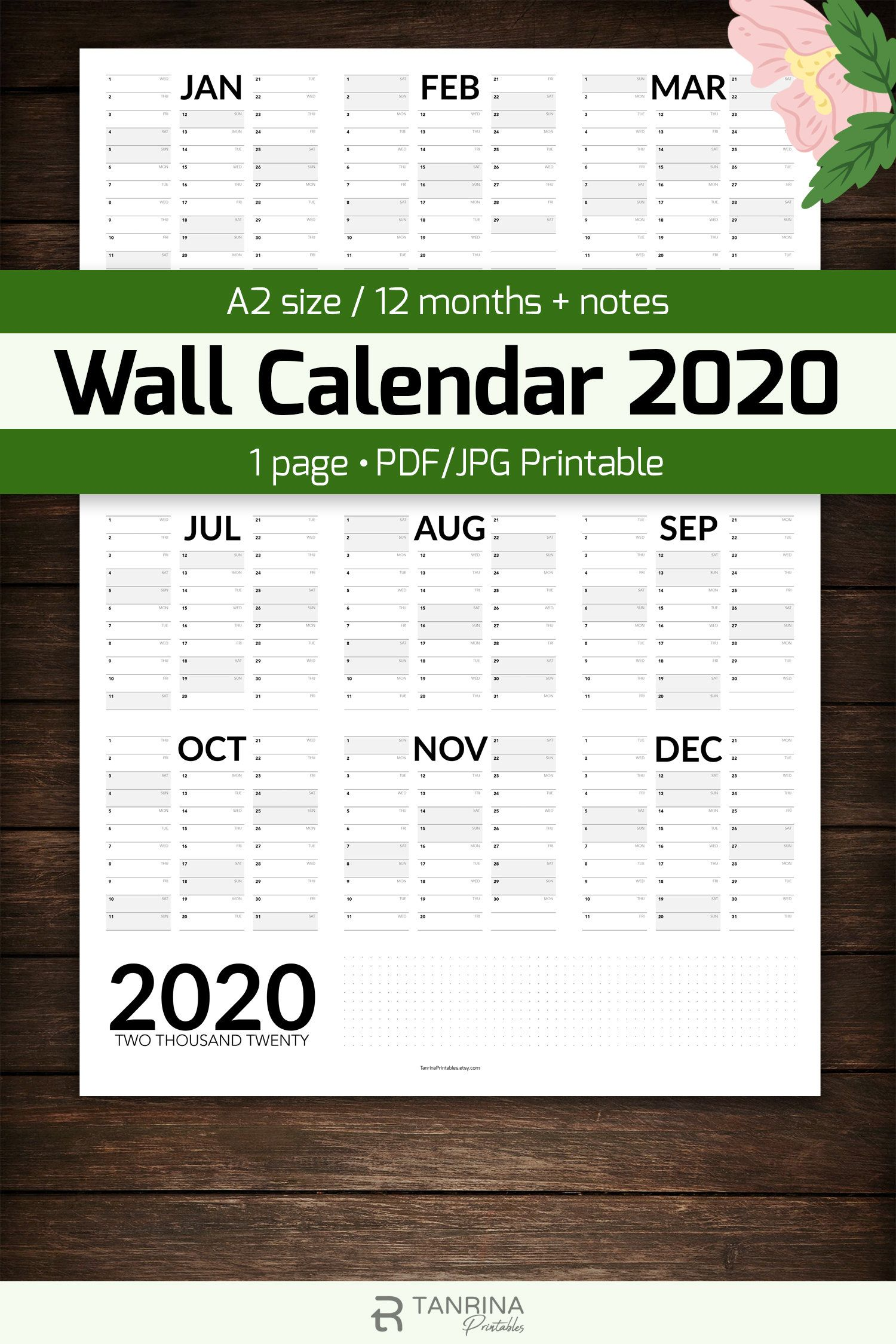 Wall Planner Printable A2 Portrait Wall Calendar