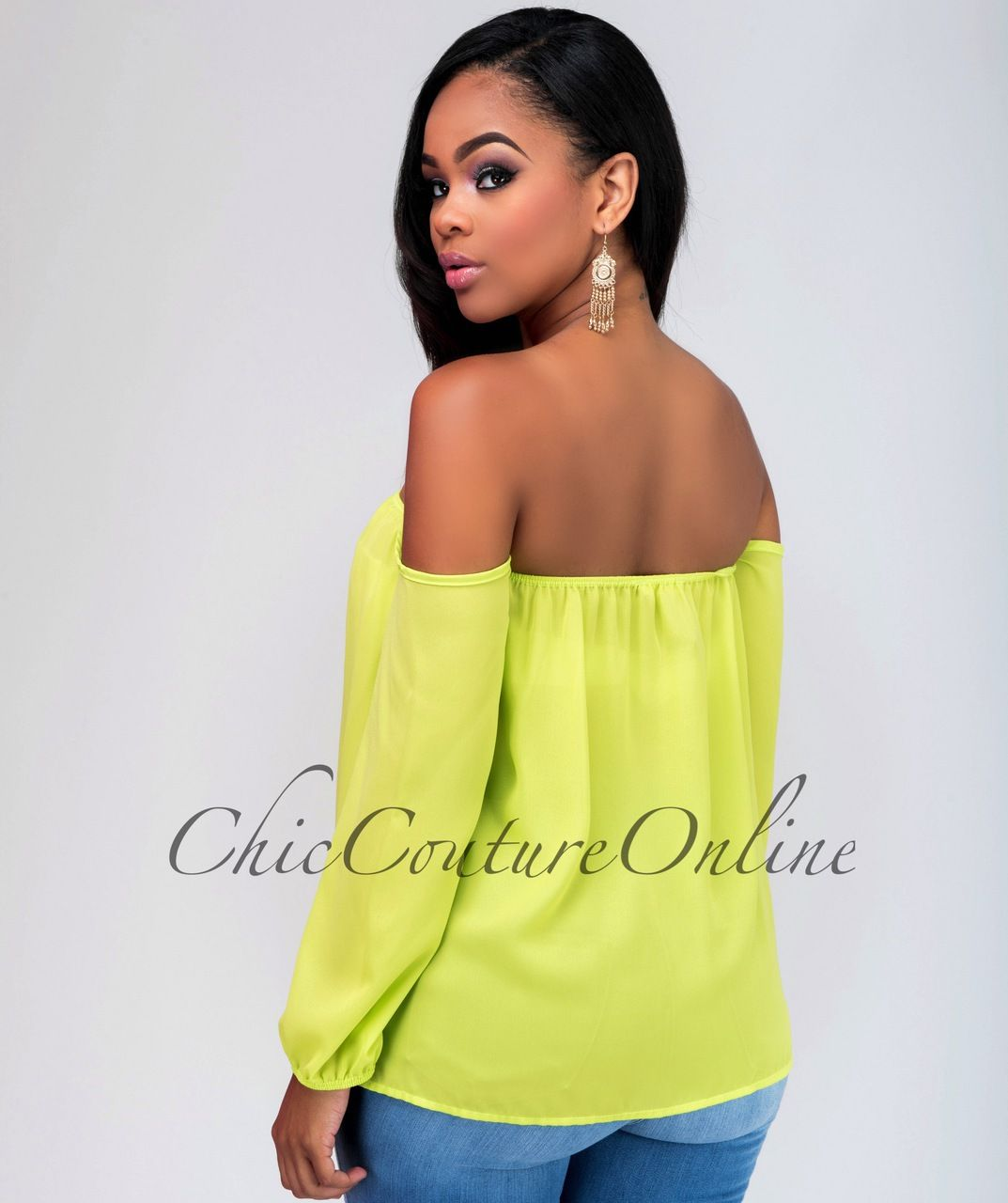 Chic Couture Online - Isadora Lime Green Off-The-Shoulder Top. (http://www.chiccoutureonline.com/isadora-lime-green-off-the-shoulder-top/)
