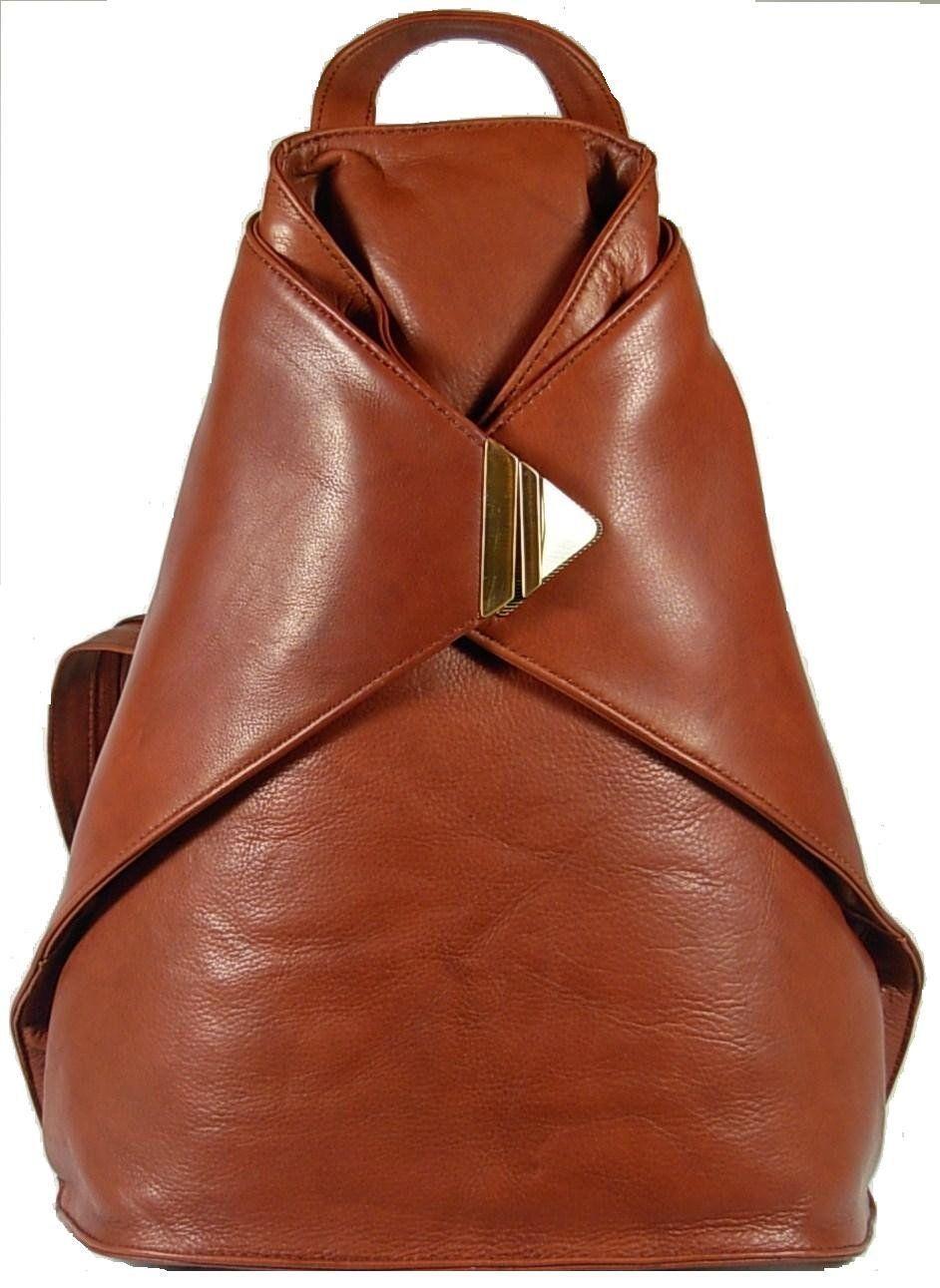 Visconti 18258 Large Stylish Las Triangular Soft Leather Backpack Rucksack Handbag For Women Brown