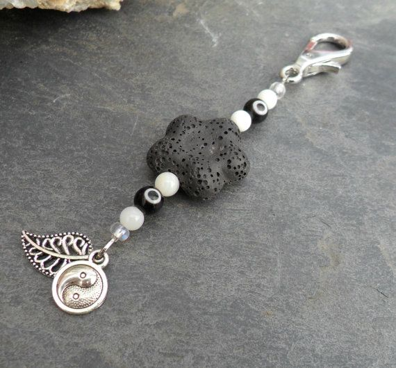 Energy Charged Black Lava Rock Stone Flower Keychain with Yin Yang & Leaf charms and Evil Eye accents by SpiritualTurtle on Etsy