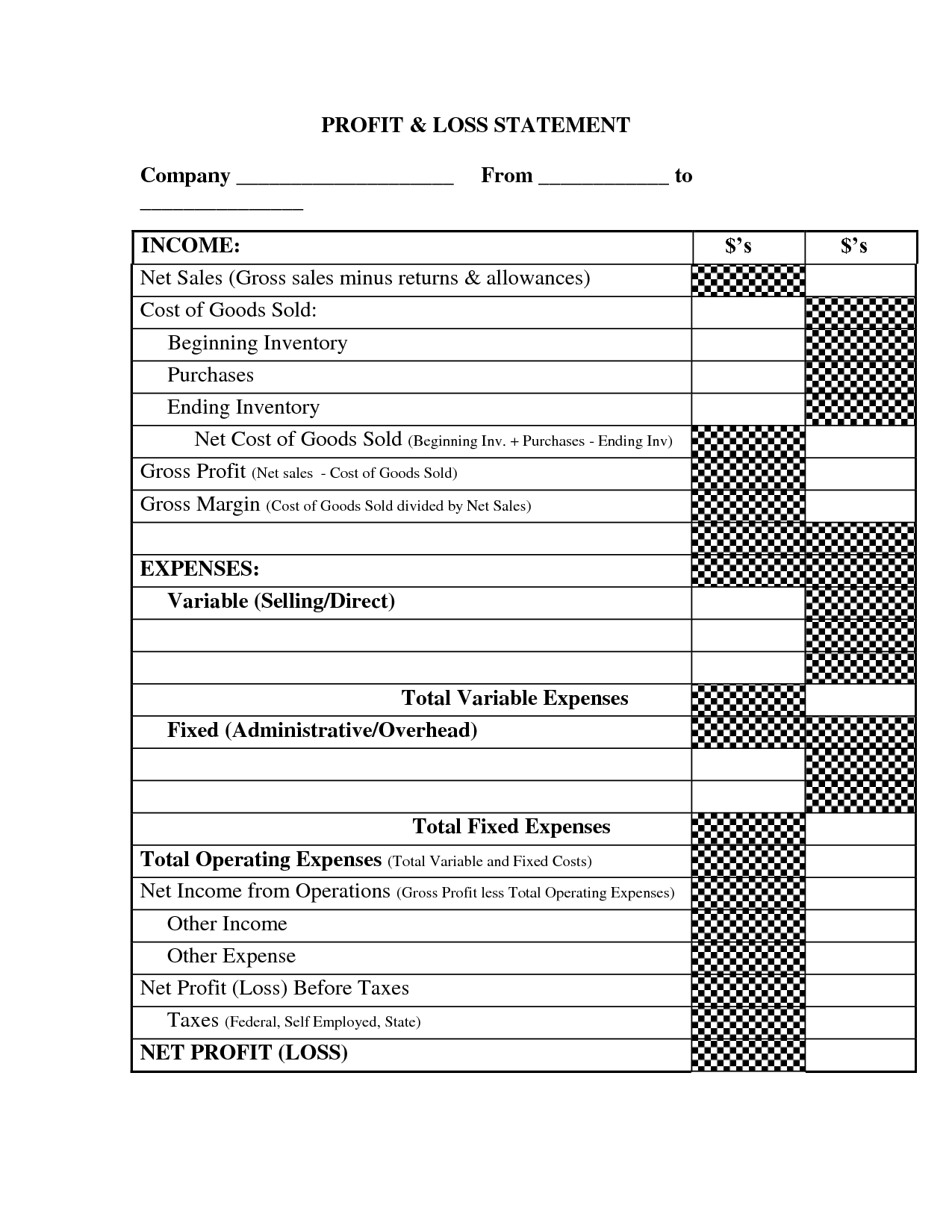 Profit And Loss Income Statement Template Making A Living