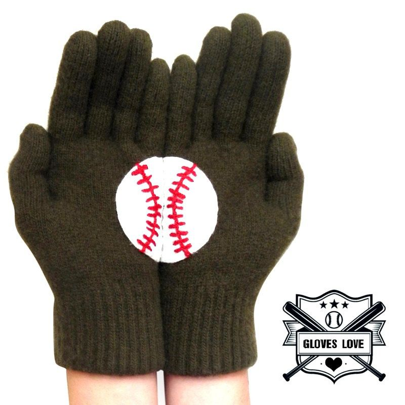 Mothers Day Gift For Mom Green Wool Winter Gloves Baseball