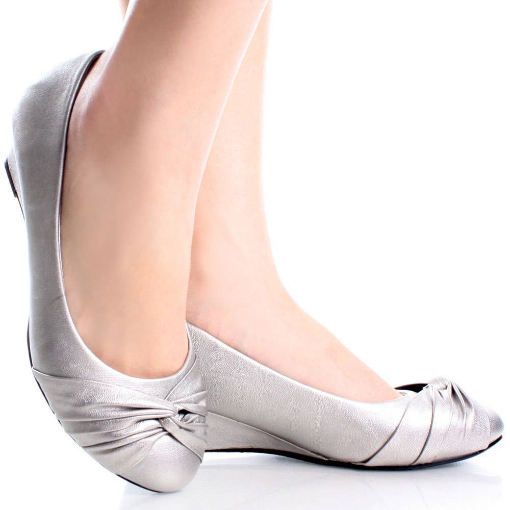 Silver Womens Ruched Rhinestone Flower Bow Slip On Ballet Flat ...