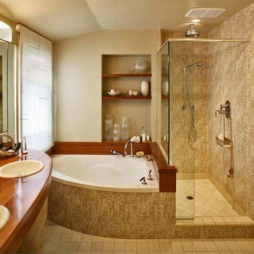 50 Amazing Bathtub Ideas 35 Jpg 500 500 Pixels Corner Tub Shower Small Bathroom Remodel Corner Tub Shower Combo
