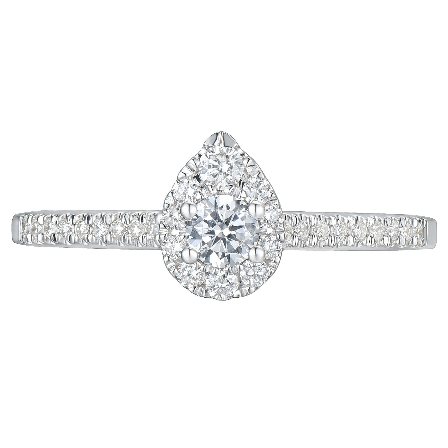 2dd91d254f8b3 Tolkowsky 18ct White Gold 0.38ct Pear Halo Diamond Ring | Ernest ...