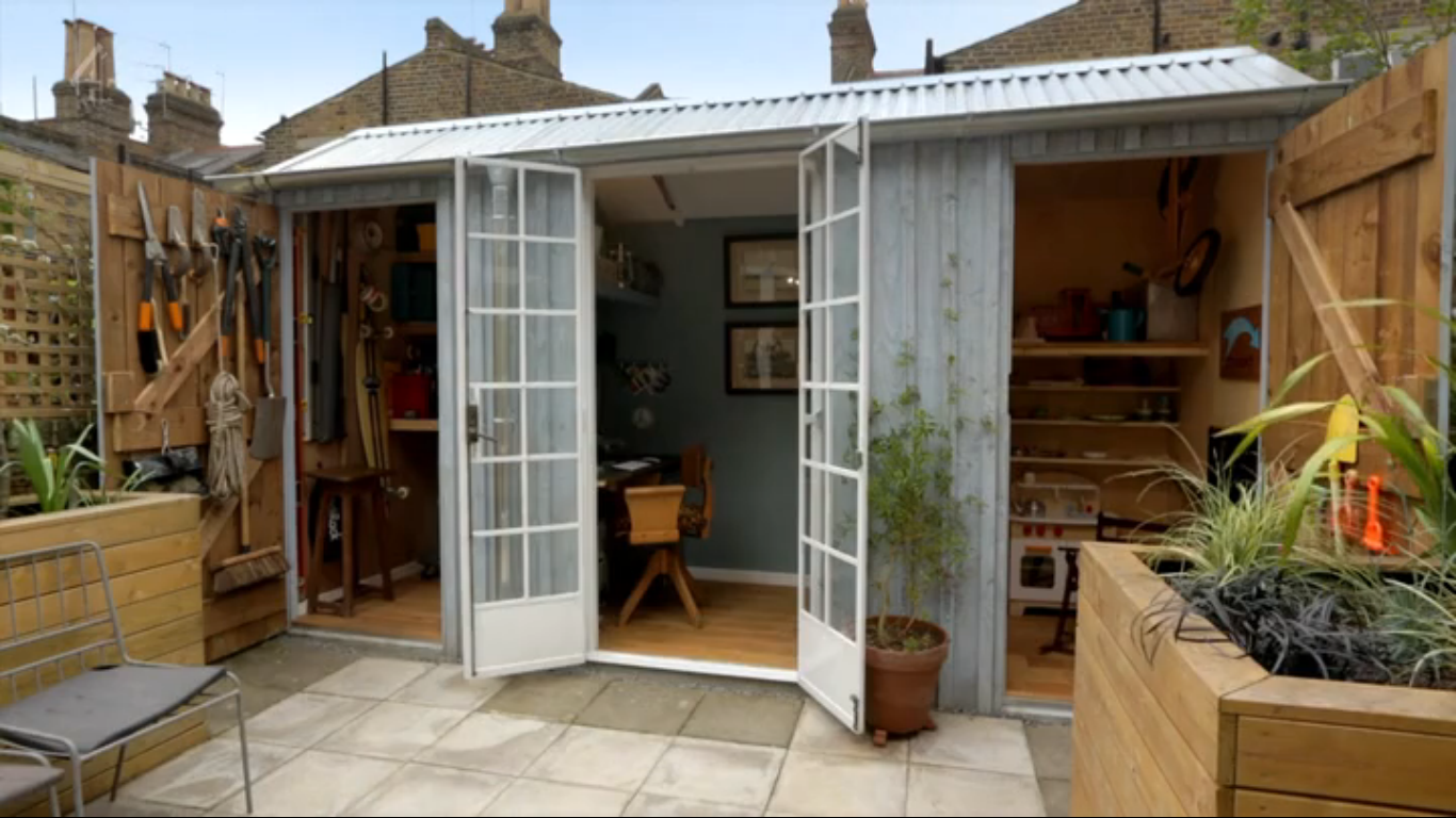 George clarkes amazing spaces s03e02 garden shed office play area all in one house ideas for Amazing small gardens