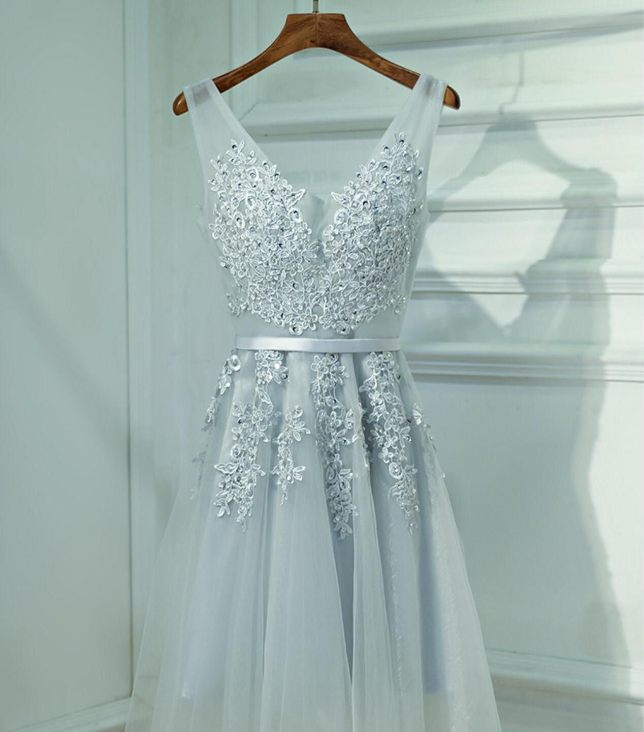 Cute Gray Lace v Neckline Short Homecoming Prom Dresses, Affordable ...