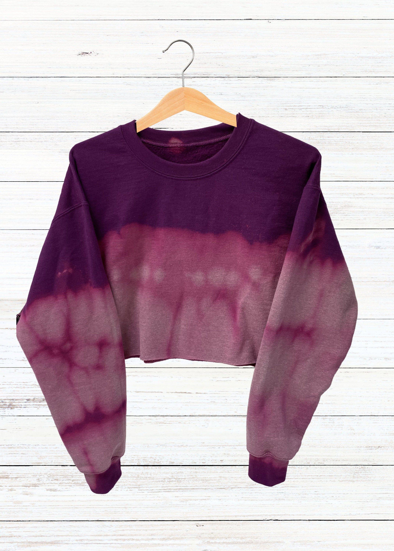 Reverse Tie Dye Crop Sweatshirt Handmade Reverse Tie Dye Crew Neck Cropped Sweatshirt Purple Unisex Size M Reverse Tie Dye Crop Sweatshirt Sweatshirts [ 3000 x 2143 Pixel ]