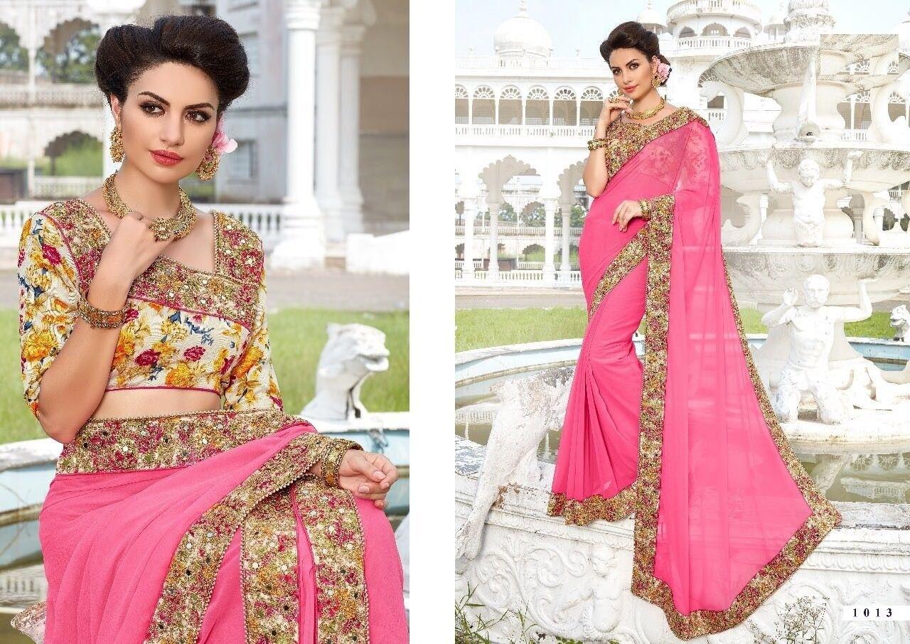 Mehndi Party Saree : Dazzling pink saree and buy sarees online