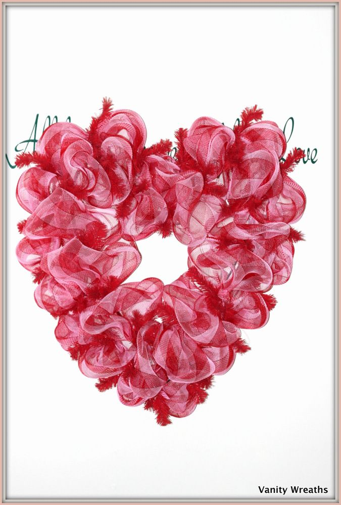 Vanity Wreaths Make A Heart Shaped Mesh Wreath For Valentines Day