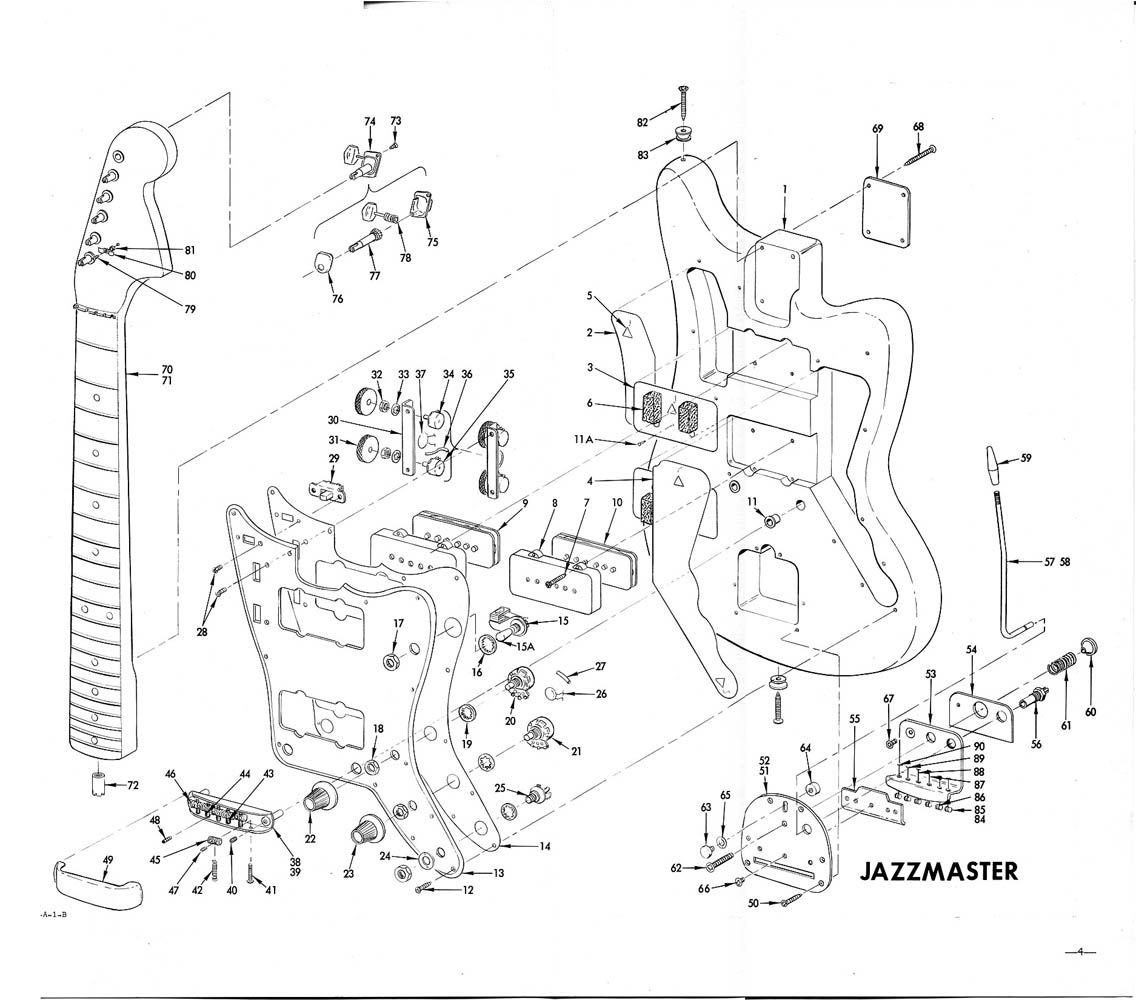 Jazz master electric guitar exploded view