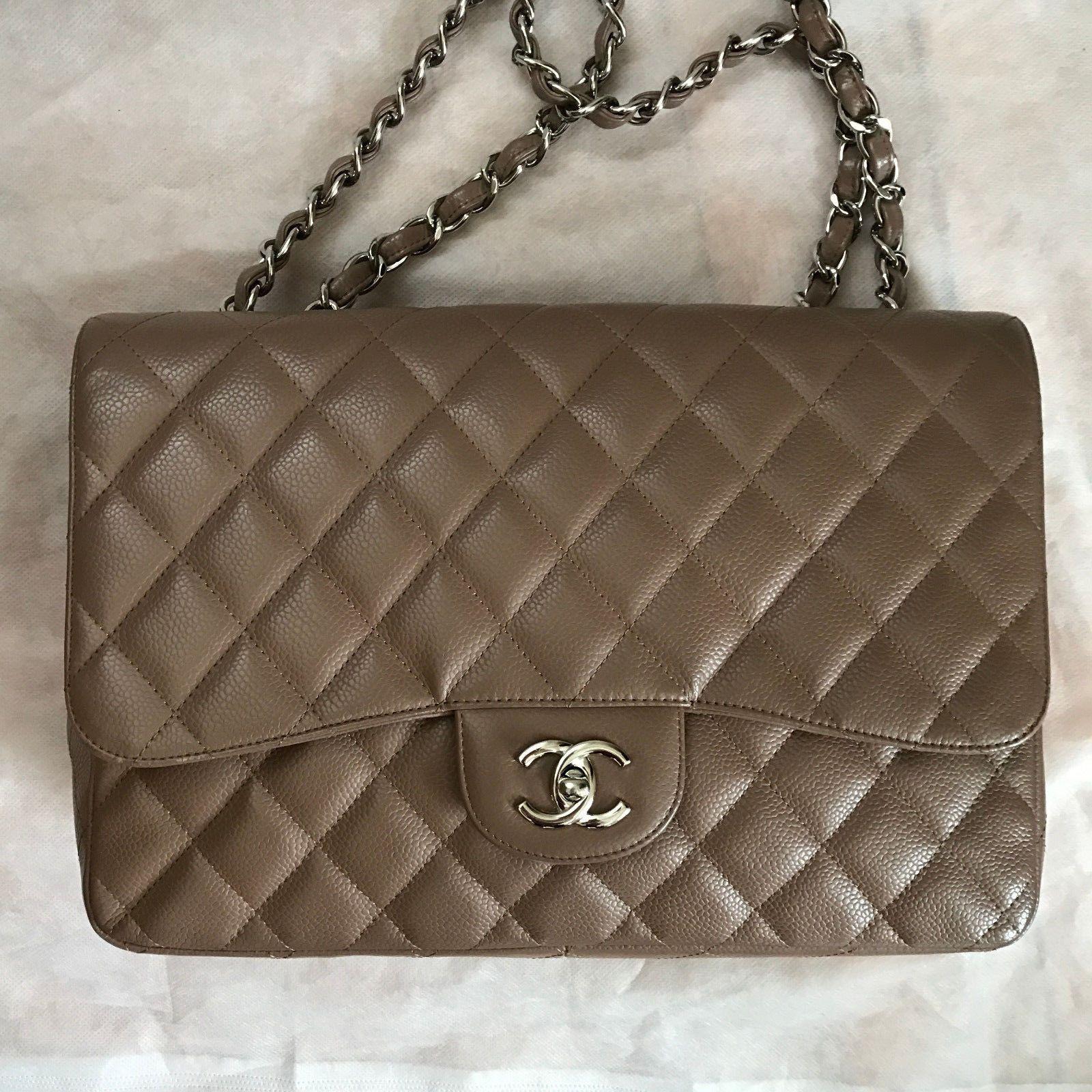 b8f38acdea34 Authentic Chanel Brown Caviar Jumbo Classic 2.55 Single Flap Bag $2959.0