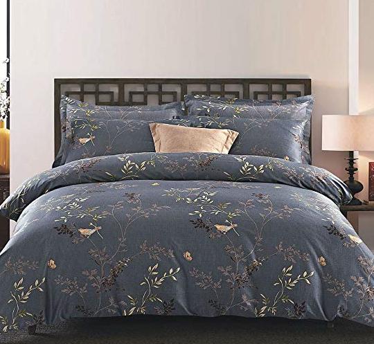 f888bec4b Wake In Cloud - Gray Comforter Set Queen, 3-Piece Birds Floral Flowers  Leaves Pattern Printed On Dark Grey, Soft Microfiber Bedding
