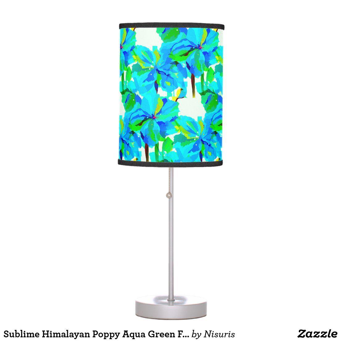 Sublime Himalayan Poppy Aqua Green Floral Pattern Table Lamp Zazzle Com Aqua Green Table Lamp Lamp