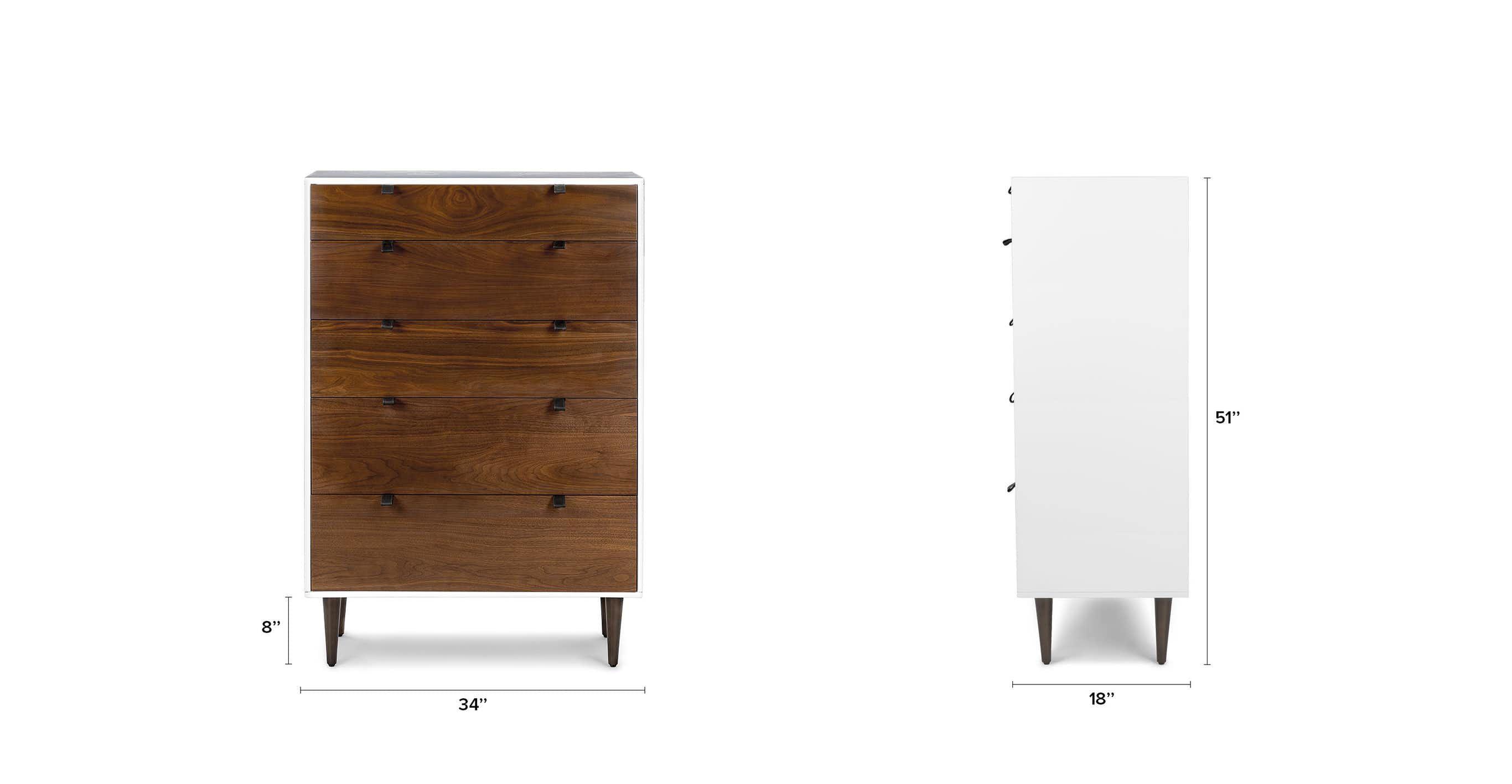 Envelo White Walnut 5 Drawer Dresser 5 Drawer Dresser Wooden Dresser Dresser Drawers [ 1418 x 2732 Pixel ]