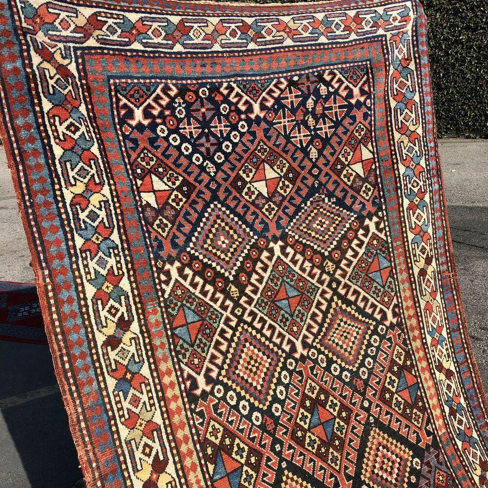Auth 19th C Antique South Caucasian Rug Floppy Organic Large 5x11 Beauty Nr Caucasian Migratorygeometric Carpet Handmade Kilim Woven Distressed Rugs