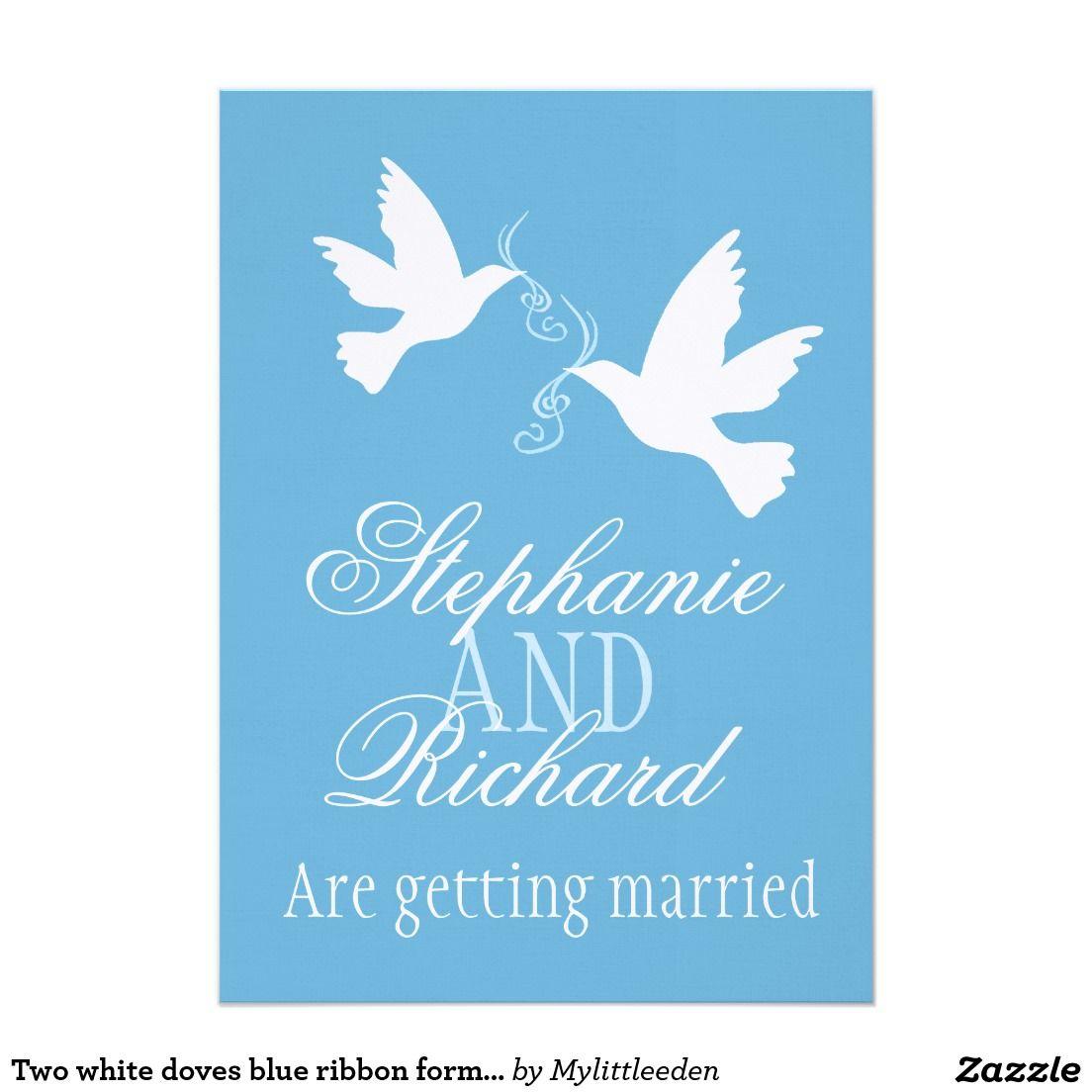 Two White Doves Blue Ribbon Formal Wedding Invite Invites