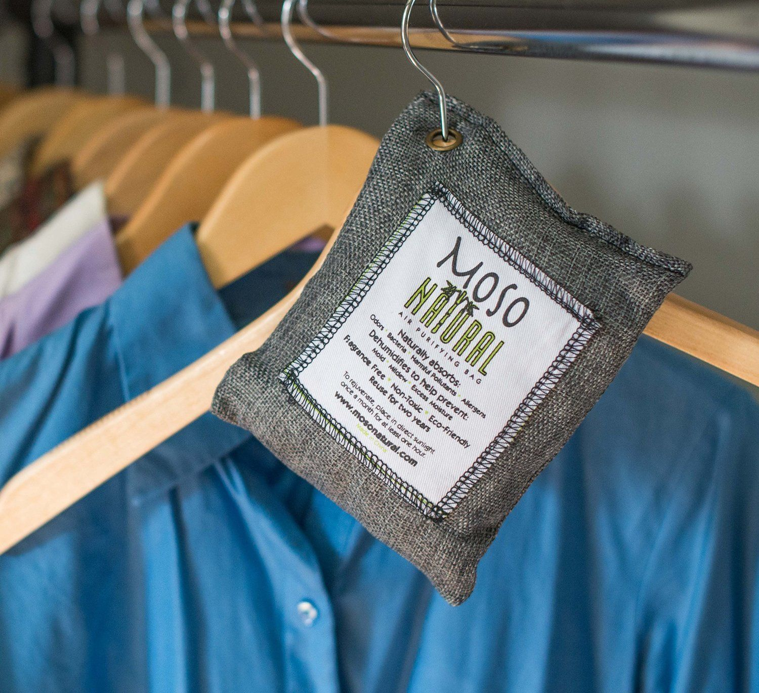 A Natural Charcoal Freshener That Absorbs Odors And Prevents Mold And Mildew  From Forming In Your Closet.