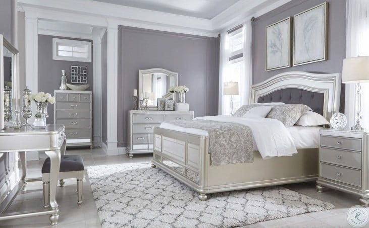 Coralayne Silver 4 Piece Upholstered Bedroom Set