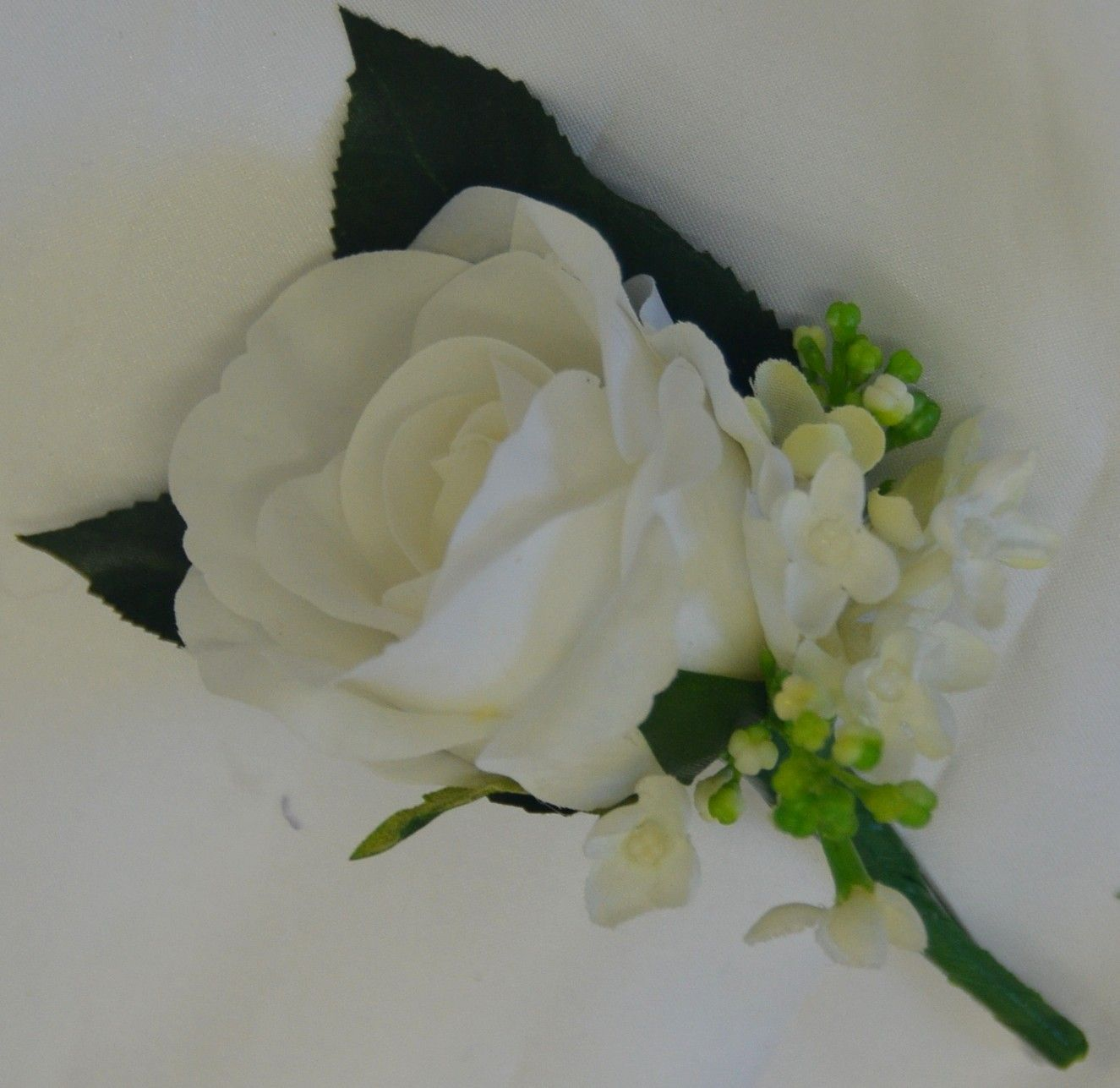 White Rose Lilac Flowers Groom On Hole