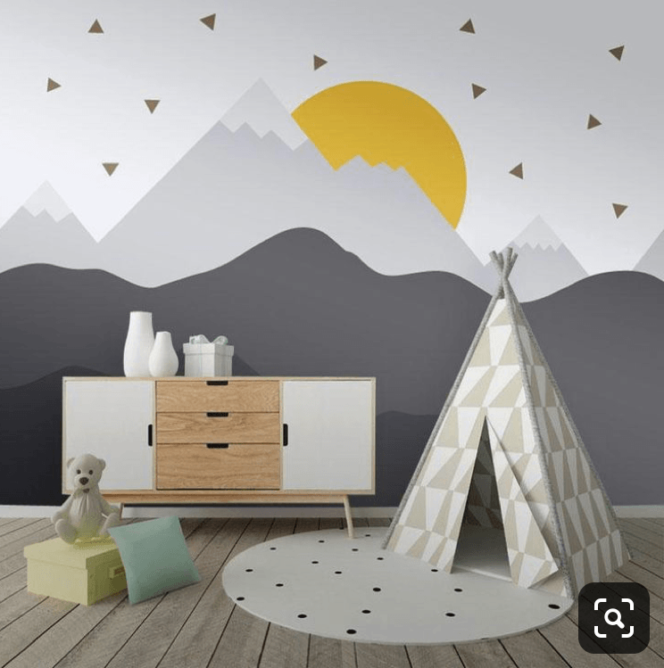 How To Paint A DIY Mountain Mural In Your Kids Room