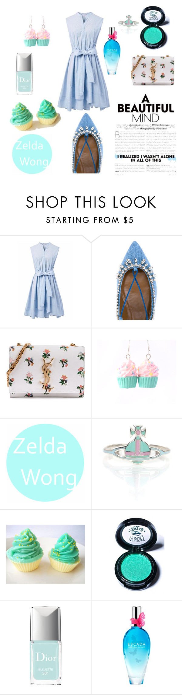 """Untitled #38"" by alishayu on Polyvore featuring Chicwish, Aquazzura, Yves Saint Laurent, Vivienne Westwood, Medusa's Makeup, Christian Dior and ESCADA"