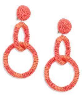 Oscar De La Renta Beaded Double-Hoop Clip-On Earrings kZvPp1Y