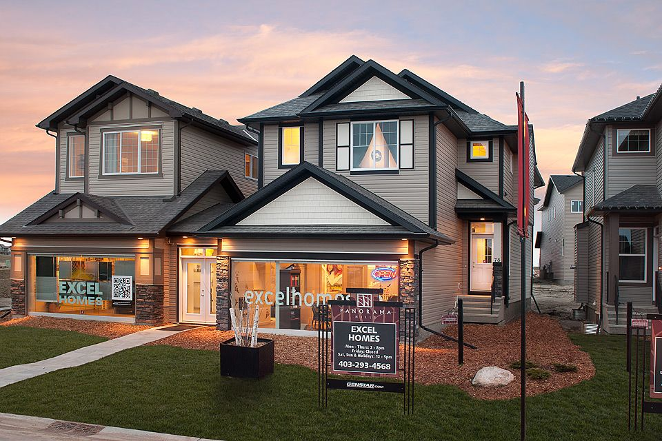 What a unique two storey home with a front-attached garage!  Excel Homes - Aberdeen show home, Panorama Hills, Calgary
