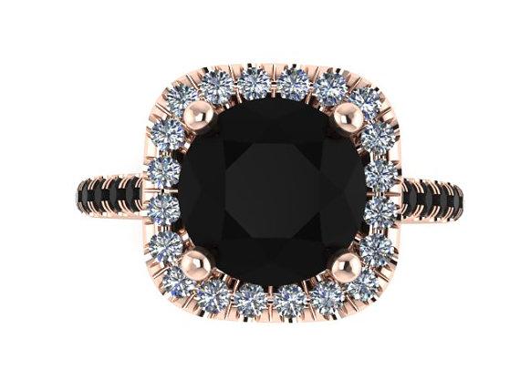 Halo Black and White Diamond Engagement Ring Wedding Ring 14K Rose