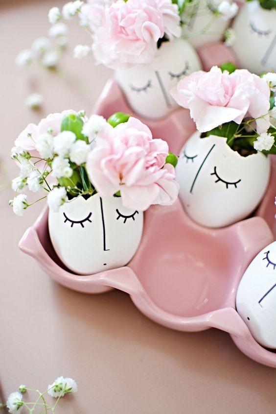 Frühlingsdeko Basteln frühlingsdeko basteln eierschalen dekorieren blumen vasen