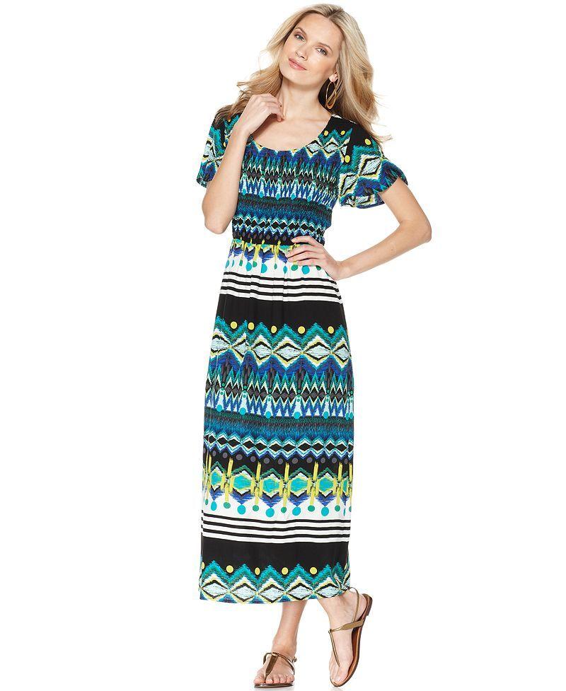 Elementz Dress, Short Sleeve Printed Scoopneck Maxi