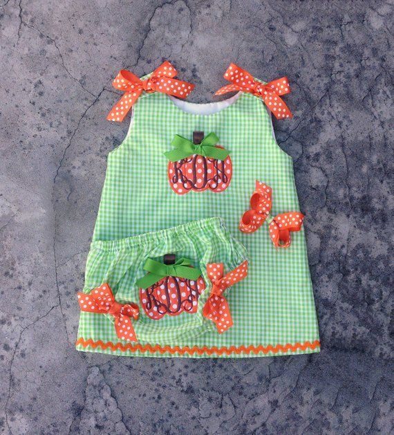 Monogram baby girl outfit, personalized toddler dress, baby girl clothes, pumpkin patch outfit, lime #pumpkinpatchoutfit