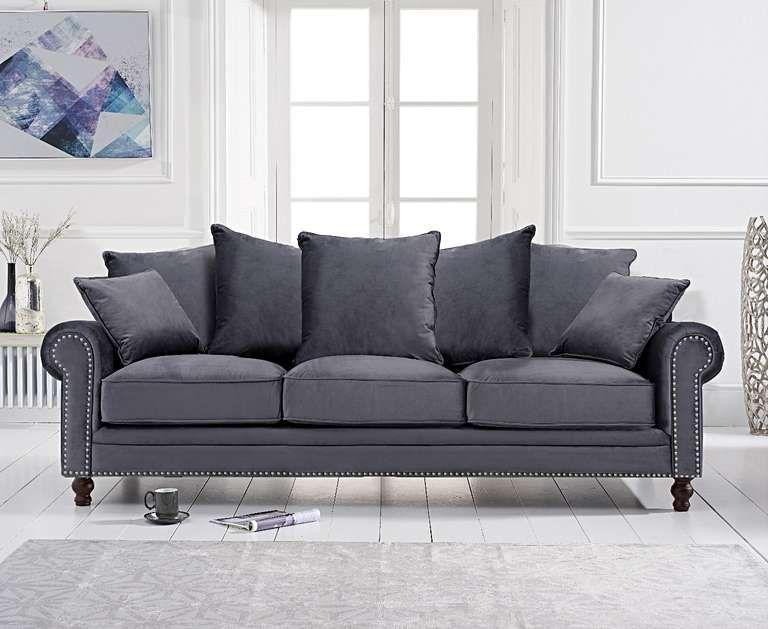 Eliza Grey Velvet 3 Seater Sofa In 2020 Cushions On Sofa Grey