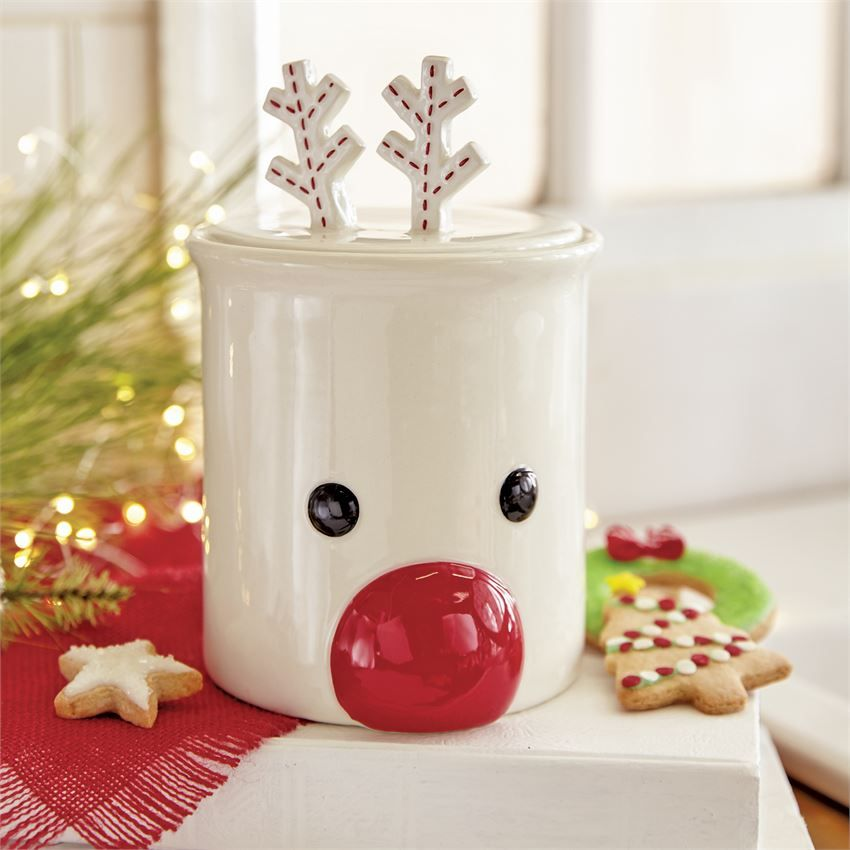 Reindeer Cookie Jar Living Mud Pie Christmas Themes Decorations Christmas Cookie Jars Wedding Centerpieces Mason Jars