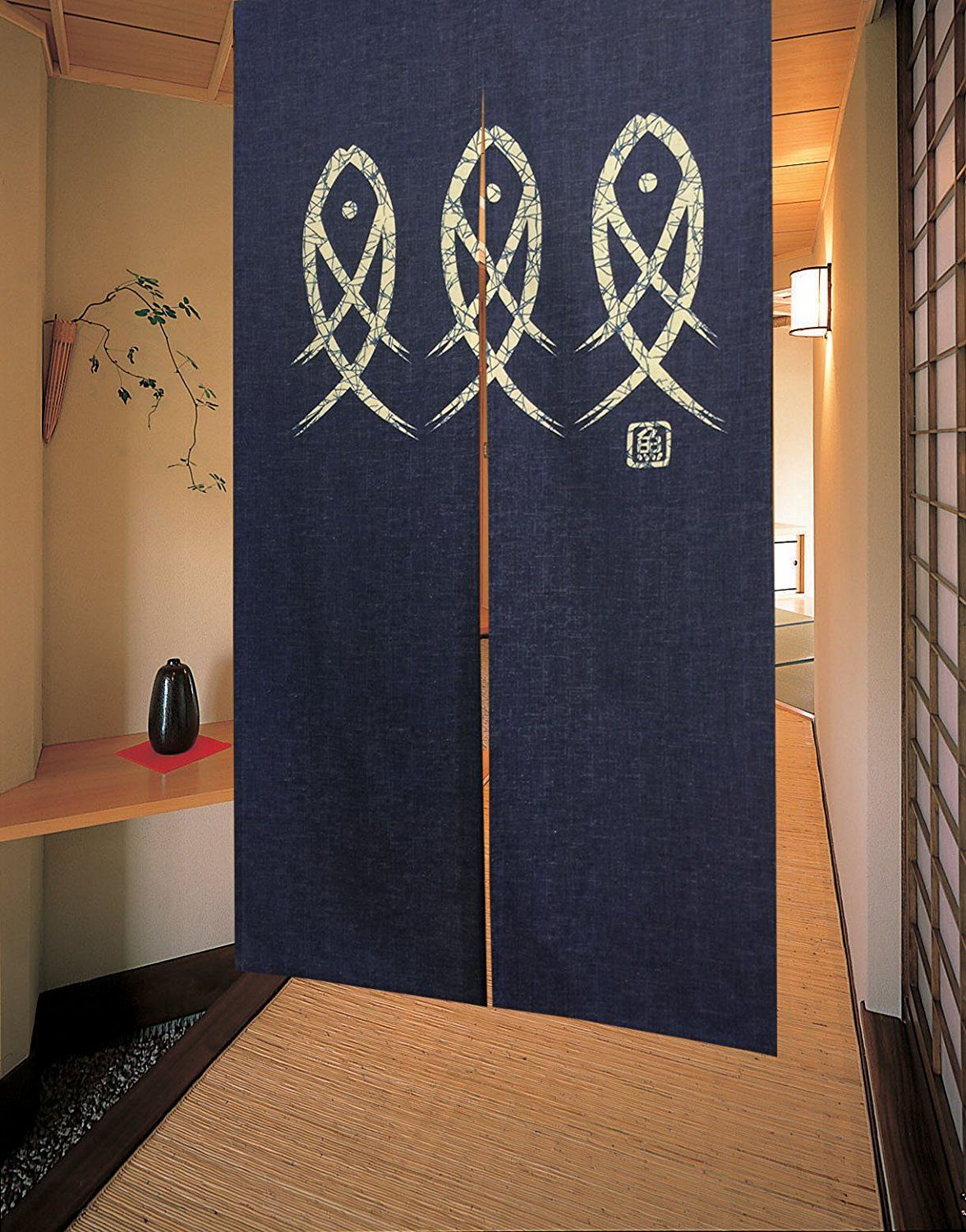 LIGICKY Japanese Noren Doorway Curtain Ancient Character Fish Tapestry For  Home Decoration Blue 33x59inch HG003 *