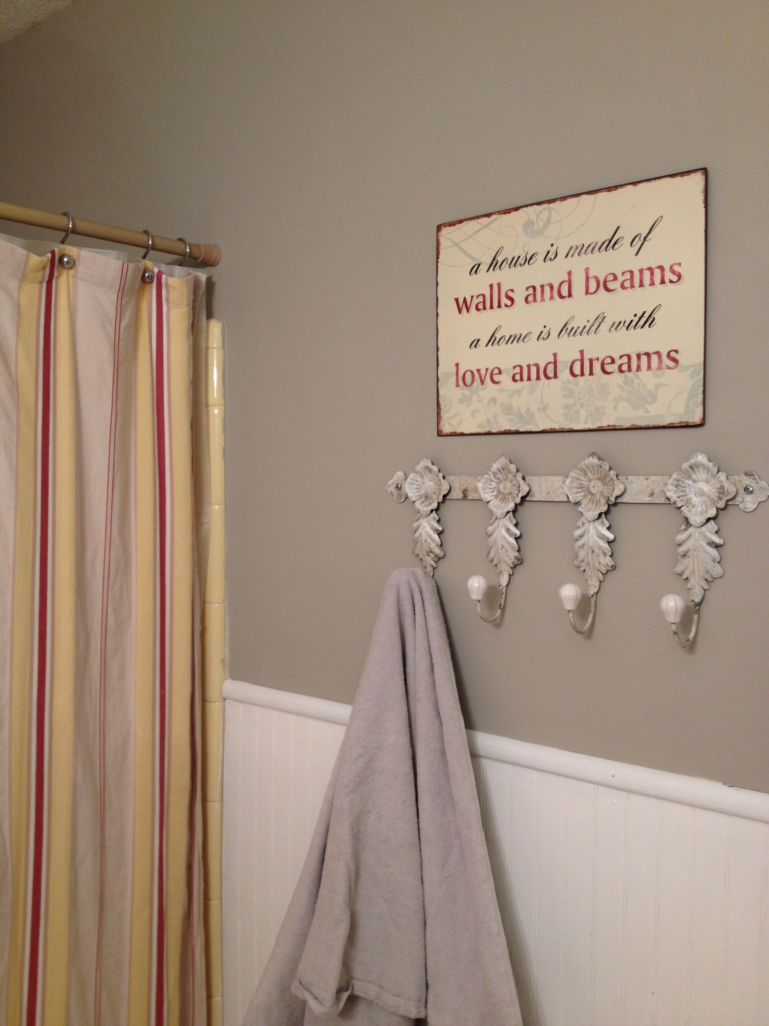 Gray and yellow bathroom with red accents | Yellow ...