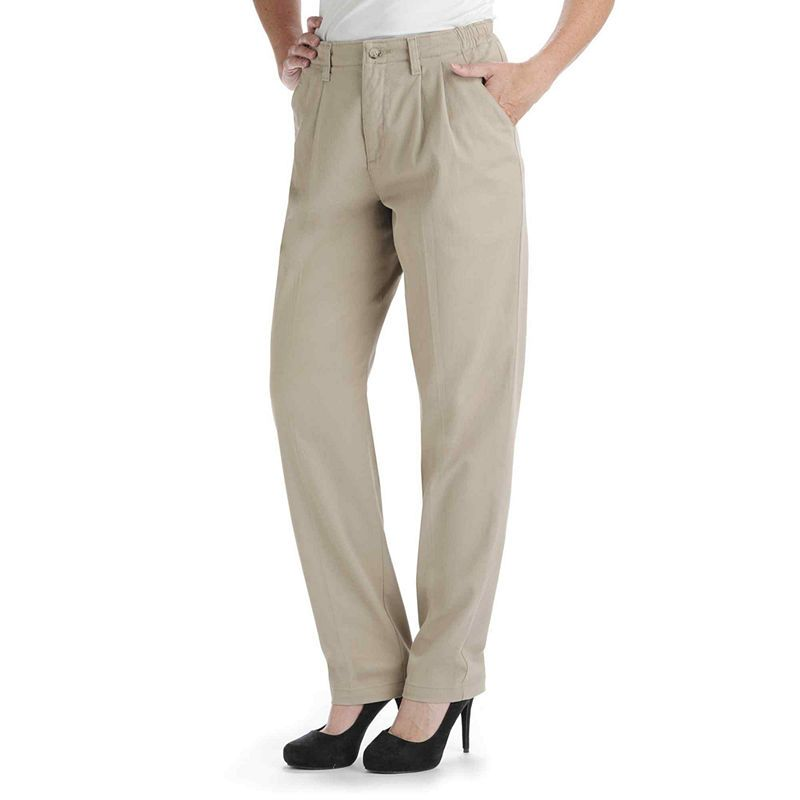 ce2b124f81c Lee Side-Elastic Straight-Leg Twill Pants