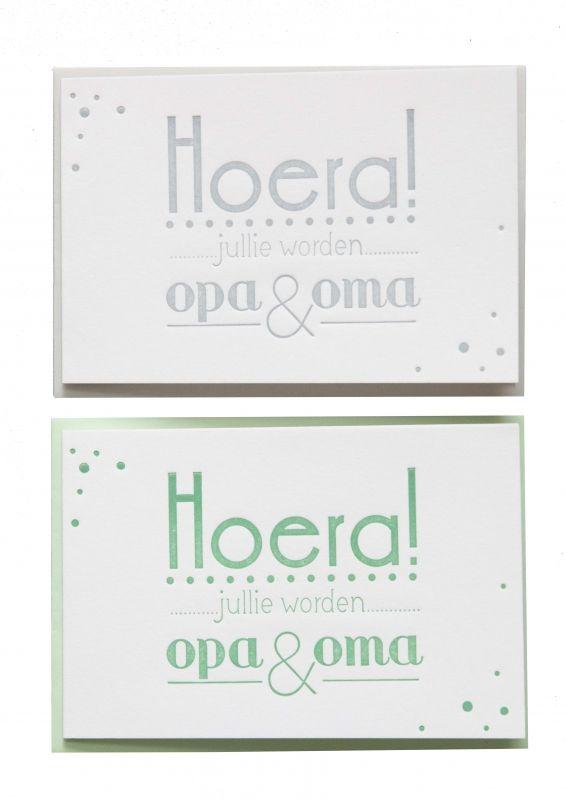 Verrassend letterpresskaart_geboorte_Hoera-opa/oma_lucite-green-mint_300 LR-44