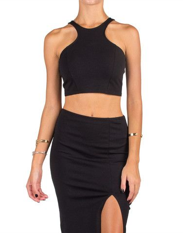 1538febcaad9a Racer Front Zip Back Cropped Tank - Black