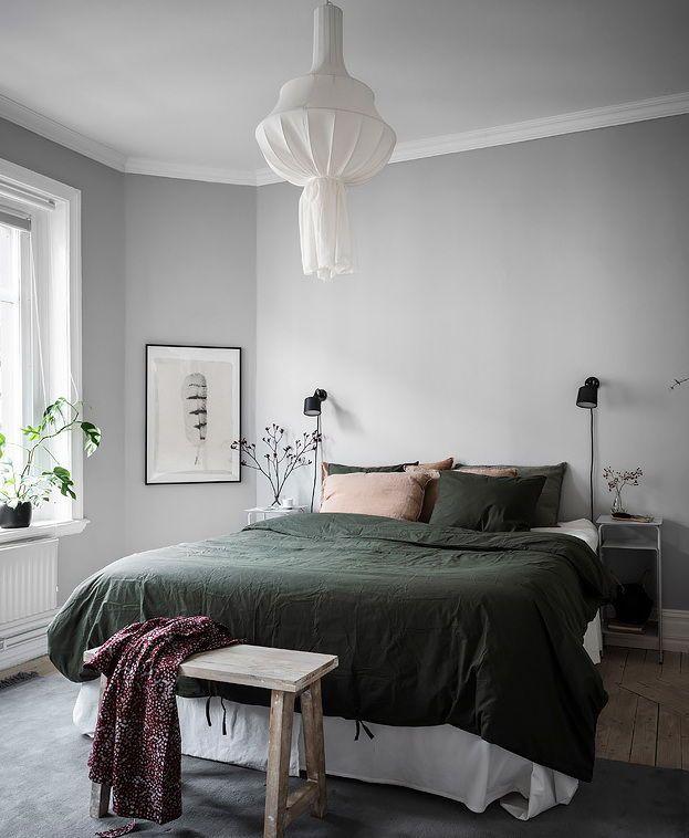 Cozy bedroom in green and grey #cozybedroom