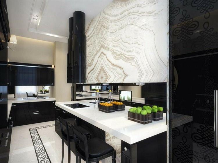 La cuisine blanche et noire en 49 idées déco intéressantes ˙·٠