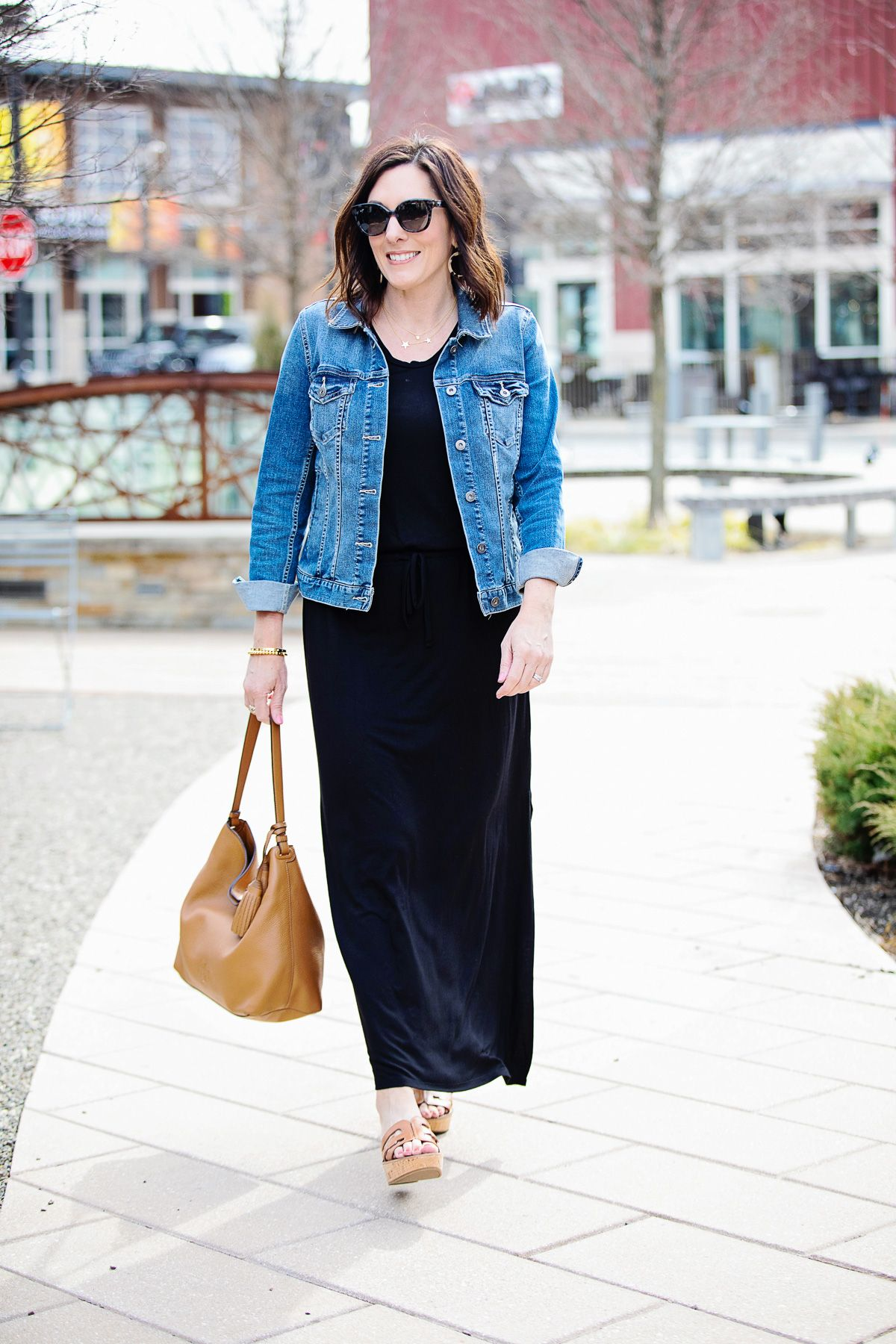 e638015faddb79 The Must-Have $69 Casual Dress for Spring | Caslon Drawstring V-Neck Jersey  Maxi Dress, Vince Camuto Jean Jacket, Tortoiseshell Hoop Earrings, ...