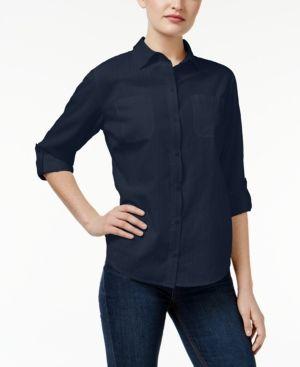 Karen Scott Petite Roll-Tab Shirt, Only at Macy's - Blue P/XL