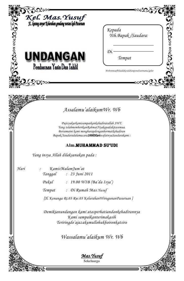 Contoh Undangan 1000 Hari Orang Meninggal Word Undangan Kata Kata Undangan Pernikahan Contoh Kartu Nama