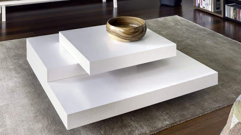 impressionnant table basse salon blanc laque   Décoration française ...