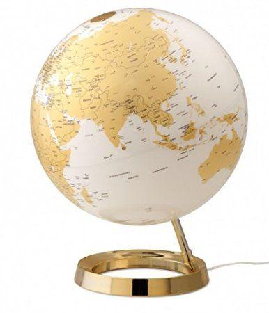 Globe Terrestre Lumineux Design Blanc Or Sur Socle Dore Amazon Fr Cuisine Maison Globe Terrestre Lumineux Gold Globe Globes De Lumiere