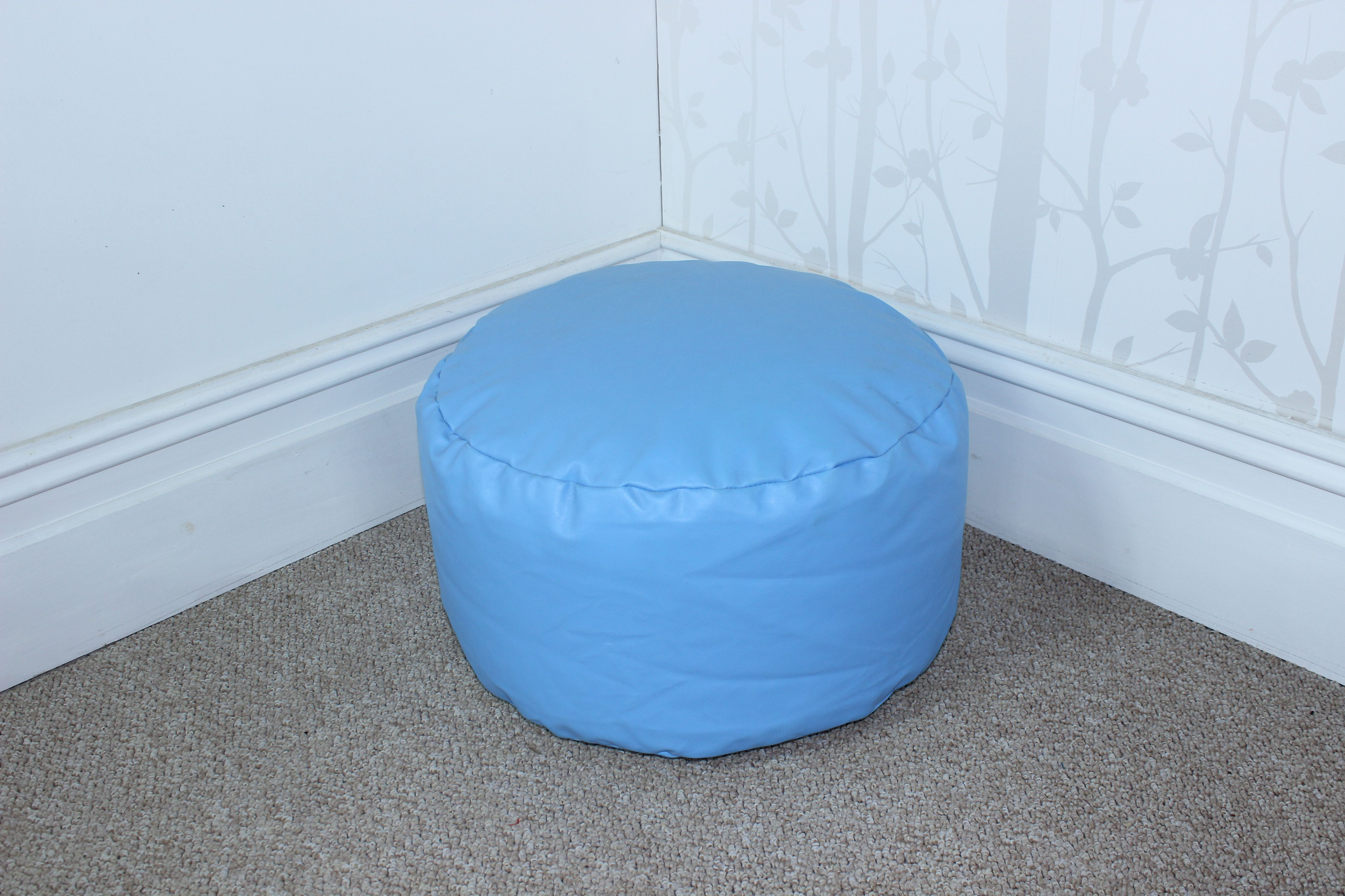 Bean Bag Footstool Details About Light Blue Faux Leather Bean Bag Footstool Cool Blue