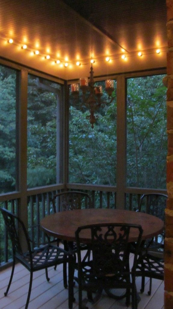 Screened porch makeover add lights around the top why for Front porch lighting ideas