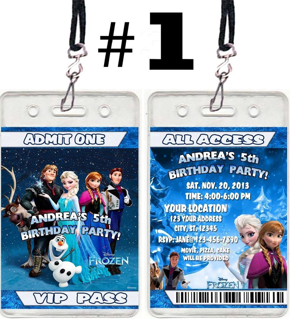 Disney frozen movie birthday party ticket vip pass invitations favor ...